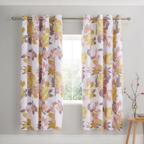 Catherine Lansfield Elina Floral Blush Eyelet Curtains